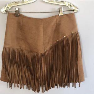 H & m suede fringe skirt